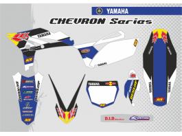 YAMAHA CHEVRON DECAL KIT - BLACK / BLUE